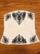 White House Black Market WHBM White Embroidered Corset Top SIZE 4 FREE SHIPPING!