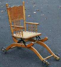 Antique Oak Child's High Chair Tray Victorian Baby Doll Seat Vintage Stroller