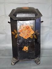 ANTIQUE COAL HOD SCUTTLE BIN TOLE PAINTED ROSES WITH INSERT