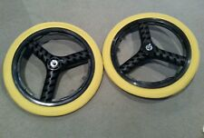 "NEW 20"" MAG WHEELS 3 SPOKE YELLOW TIRES TUBES FOR GT DYNO HARO OR BMX BICYCLES"