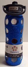 Lifefactory Glass Water Bottle w/Straw Cap & Blue Silicone Sleeve, Sz 22 oz
