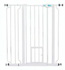 EXTRA TALL WALK THRU GATE WHITE METAL PET DOG BABY SAFETY LARGE EXPANSION DOOR