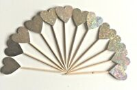 12 Glitter Heart Cupcake Toppers Party Decoration Cup Cake Topper Food Flags