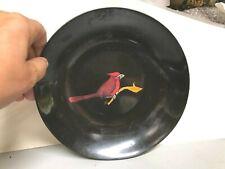 "Couroc Cardinal bowl silver inlay 7.5"" Mid Century Modern w Mfg. Sticker"