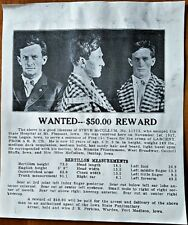 1918 IOWA STATE HOSPITAL ESCAPED PRISONER WANTED POSTER for Steve McCollum NR