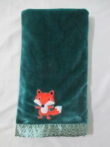 """BANANAFISH STUDIO TEAL GREEN FOX PLUSH BABY BLANKET SATIN TRIM 30"""" x 40"""" EUC"""