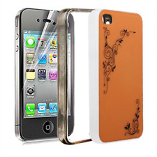 4 in 1 Custodia, Cornice, Bumper, Pellicola, in PVC Arancio e Nero x Apple iPhon