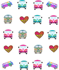 1960's Retro  VW Bus Waterslide Nail Decals/Nail art