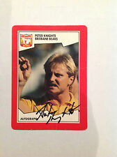 1989 SCANLENS AFL CARD PERSONALLY SIGNED BY PETER KNIGHTS BRISBANE