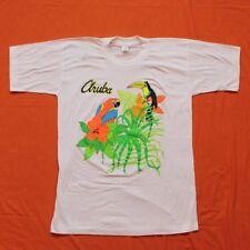 VINTAGE 1980s Aruba Parrot Toucan T-Shirt NOS Men's L White Caribbean