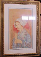 EDNA HIBEL - THE RECORDER - Signed #d Serigraph COA Framed Beautiful Art Woman