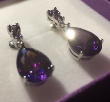 p 21 Large pear purple amethyst white gold gf drop dangle earrings Plum UK BOXED
