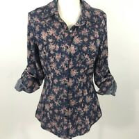 Band Of Gypsies Shirt Womens Size Medium Snap Button Roll Tab Sleeves Floral