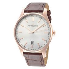 Jacques Lemans Men's Classic 1-2026E 40mm Silver Dial Leather Watch