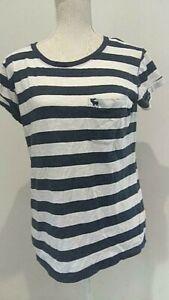 ABERCROMBIE & FITCH blue white striped short sleeve T shirt Medium M