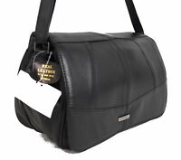 New Women Real Leather Multi Pocket Shoulder Bag Across Body Bag Handbag Black