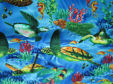 Fabric #2316 Whales Dolphins Sea Turtles Fish Coral Eliz Studio Sold by 1//2 Yard