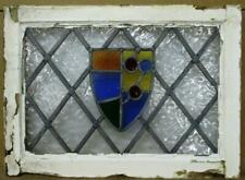 """Old English Leaded Stained Glass Window Shield with Diamond Lead 23.25"""" x 17"""