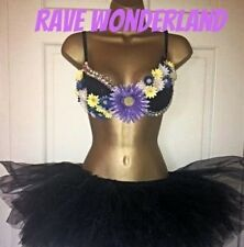 Purple Rhinestone Daisy Rave Bra & Black Tutu Full Outfit Costume