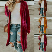 Women Retro Long Drape Velvet Jacket Open Front Cardigan Coat Outerwear Costume