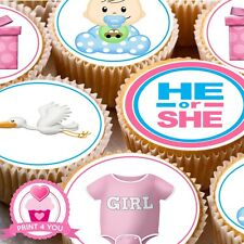 24 Edible cake toppers decorations He or She baby reveal shower boy or girl