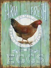 Barnyard Designs Farm Fresh Free Range Eggs Retro Vintage Tin Bar Sign Country x