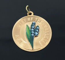 Vintage May Lily of the Valley Enamel & 14K Yellow Gold Coin Pendant