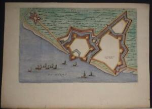 IJZENDIJKE NETHERLANDS 1649 BLAEU UNUSUAL ANTIQUE COPPER ENGRAVED CITY VIEW