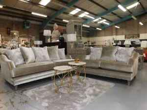 Champagne velvet high quality 4 and 2 seater sofa new from packaging