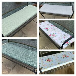 Garden bench cushions/pads 100% cotton fully zipped washable covers 5 designs