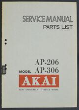 AKAI ap-206 ap-306 Original Turntable service-manual/Diagram/Parts list o172