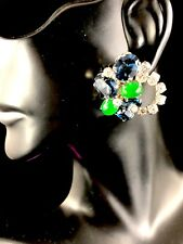 COUTURE 1969 CHRISTIAN DIOR GERMANY JADE CABOCHON BLUE RHINESTONE HALO EARRINGS