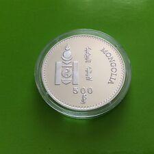 Pièce en argent de 500 tugrik 1998 Mongolia Millennium 2000