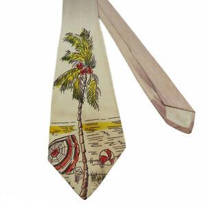 Vintage 1940s Handpainted Palm Tree Beach Necktie Wide Tie