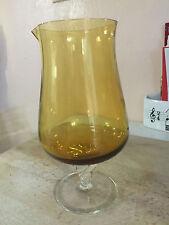 "Elegant Italian AMBER Glass Pitcher Hurricane Vase Clear Ornate Pedestal 8 5/8"""
