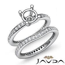 Diamond Engagement Wedding Ring Bridal Set Band Semi Mount Platinum 950 1.26Ct