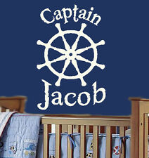 large CAPTAIN'S WHEEL Personalized  ship Vinyl Wall Decal Nursery Art