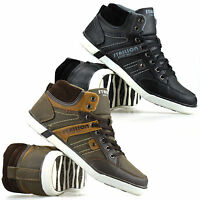 Mens New Hi Tops Casual Flat Lace Up Skate Pumps Trainers Ankle Boots Shoes Size