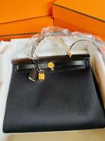 New Hermes Herbag Zip 31 Shoulder Handbag Tote Bag Black gold hardware RARE