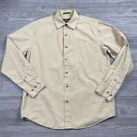 Eddie Bauer Shirt Mens Medium Long Sleeve Button Up Beige Plaid P82