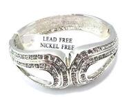 Silver Tone Rhinestone Crystal  Hinged Cuff Bangle Bracelet Lead Nickel Free