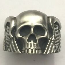 MJG STERLING SILVER WINGED SKULL RING #2 HARLEY. BIKER. GUITAR PLAYER
