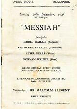 BLACKPOOL OPERA HOUSE 1946 'MESSIAH' KATHLEEN FERRIER  PETER PEARS PROGRAME.