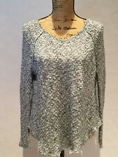 FREE PEOPLE SWEATER WITH CROCHET BACK BLUE GREY & WHITE SIZE XS EUC