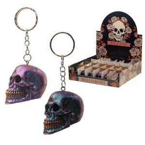 Metallic Skull Keyring Chain Gothic Novelty Gift Stocking Filler