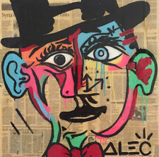 "Alec monopoly Handcraft Oil Painting on Canvas,""brain wash"",24×24IN"