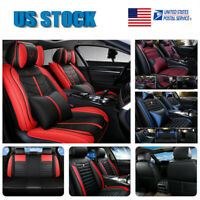 US 100% PU Leather Car Seat Covers Front & Rear Set for 5-Seats Auto SUV Truck