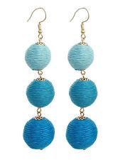 Thread Three Large Ball Long Linear Dangle Drop Fashion Aqua Blue Hook Earrings