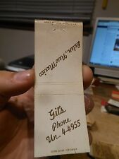Old RESTAURANT ADVERTISING Matchbook Cover Belen New Mexico Gil's Mileage Chart