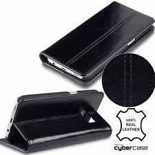 Samsung Galaxy S8 Real Cuero Cartera Folio Estuche Negro Ejecutivo de perfil bajo